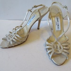 JIMMY CHOO GOLD/SILVER METALLIC LEATHER SANDALS 7